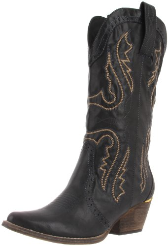 Cowgirl Heel Boots (Very Volatile Women's Raspy Boot,Black,6.5 B)