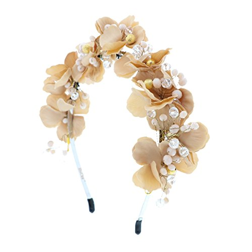 - Full Flower Wreath Headband Gold & Crystal Beads Wedding Paegent Party (Light Brown)