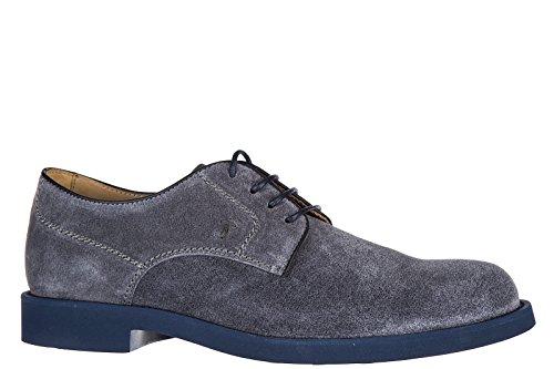 Tod's scarpe stringate classiche uomo in camoscio derby gomma light wz blu