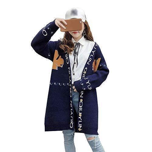 ロングカーディガン ニット レディース 動物柄 前開き セーター 上品 体型カバー シンプル 長袖 Vネック 通勤通学 カジュアル