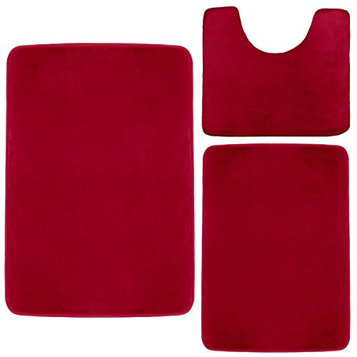 Clara Clark Memory Foam Bath Mat, Ultra Soft Non Slip and Absorbent Bathroom Rug. - Burgundy Red, Set of 3 - Small/Large/Contour (Microfiber Rugs Bathroom)