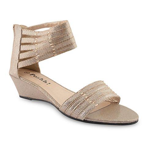 Footwear Sensation - Puntera abierta, tira al tobillo mujer Negro - dorado