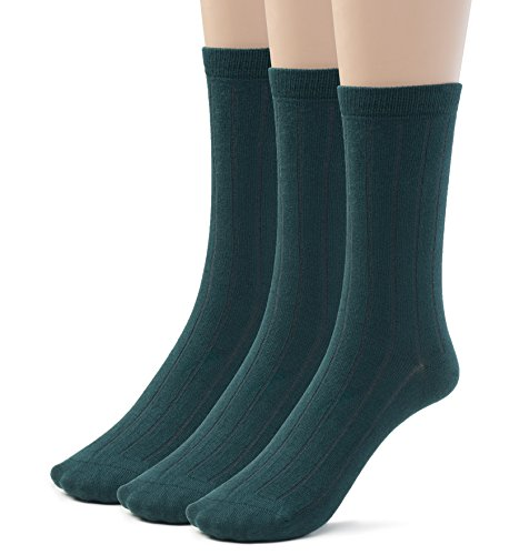 Silky Toes Bamboo Cotton Ribbed Crew Boys School Uniform Socks (Medium (8-9), Hunter)