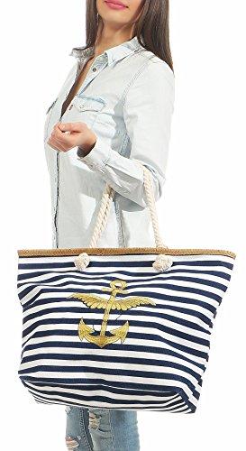 Shoulder Gold T300 Print Blue striped Handbag Dark Beach anchor Schoolbag Bag malito Women´s Bag with TxFZqXXA