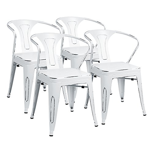 Furmax Metal Chairs With Arms Distressed Style Dream White Indoor/Outdoor Use Stackable Chic Dining Bistro Cafe Side Chairs(Set of 4) (Dining Table Antique White Set)