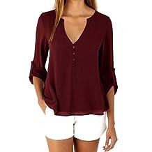 Changeshopping Womens Casual Loose Long Sleeve Chiffon Shirt Tops Fashion Blouse