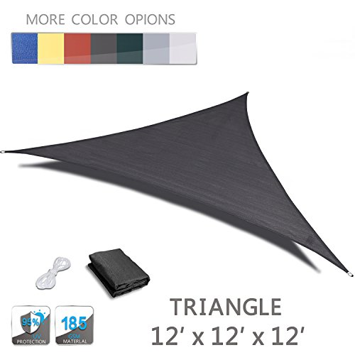 Love Story 12 x 12 x 12 Triangle Charcoal UV Block Sun Shade Sail Perfect for Outdoor Patio Garden
