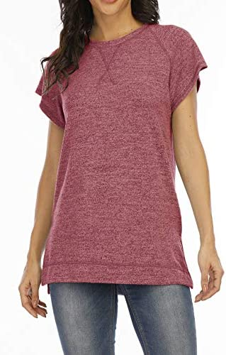 Meceku Women Short Sleeve Tunic Tops Summer Casual Loose Shirts Wear with Leggings Side Split Crewneck