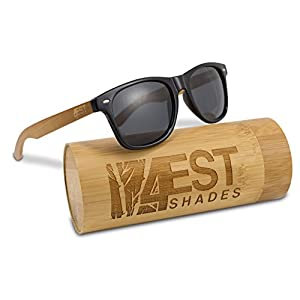 """Bamboo Sunglasses - 100% Polarized wooden shades for Men & women from the """"50/50"""" collection! (Natural, Black)"""