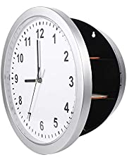 Wall Clock Safe Secret Compartment, Durbale Perfect Place Clock Safe, Silver Valuables Office Study for Home Livingroom