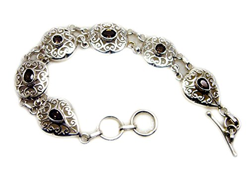 Genuine Mixed Shape Smoky Quartz 925 Sterling Silver Vintage Style Bracelet For Gift Length 6.5-8 Inches by Jewelryonclick