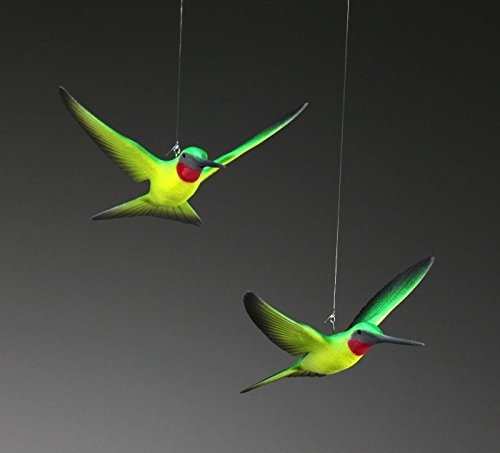 Hummingbird Duo Sculpture by John Perry Mobile 5in Wingspan Airbrushed Green/Yellow ruby throated ()