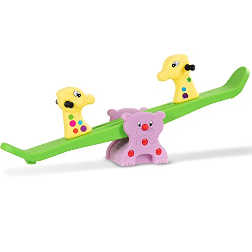 Great Deal! Costzon Kids Teeter-Totter, Cute Deer Seesaw with Grip Handle Bars, Backyard Playground ...