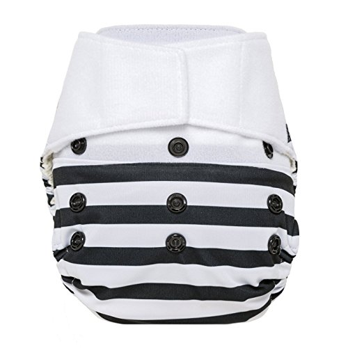 Price comparison product image GroVia Hybrid Cloth Diaper Shell, Hook & Loop Shell (Onyx Stripe)