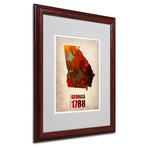 Georgia Watercolor Map by Naxart Matted Framed Art, 16 by 20-Inch, Wood ()