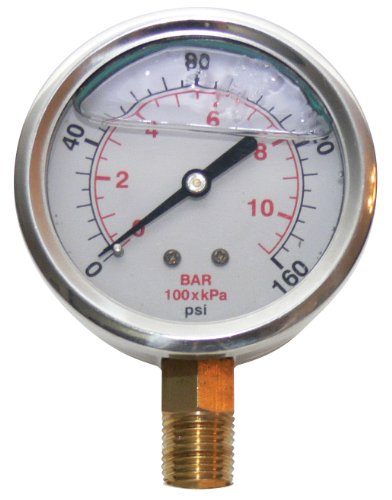 Underhill A-PG160L Liquid Filled Pressure Gauge, 160 PSI