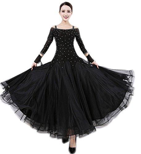 garuda レディースワンピース 社交ダンス ドレスダンス衣装 正装ドレス 競技会発表会 トッド柄黒色ドレス B074T15D9Y サイズM
