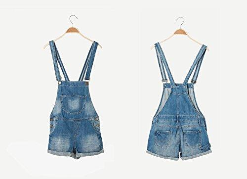 cb9a967ef7a Amazon.com  Women s Light Wash Denim Short Pinafore Dungaree Jumpsuit Hot  Pants Bib Overalls Shorts  Clothing