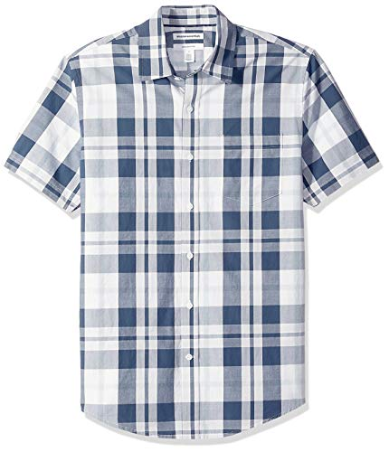 Amazon Essentials Men's Slim-Fit Short-Sleeve Plaid Casual Poplin Shirt, White/Navy, XX-Large