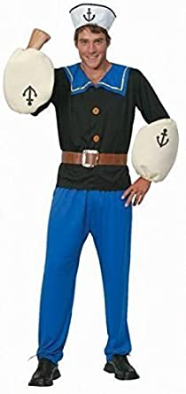 60s -70s  Men's Costumes : Hippie, Disco, Beatles Fancy Me Mens Popeye Sailor Cartoon Stag Do Fancy Dres Costume Outfit $53.90 AT vintagedancer.com