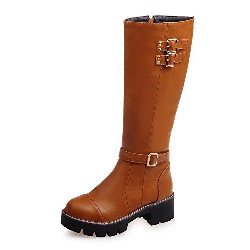 Allhqfashion Women's Kitten-Heels Soft Material High-top Solid Zipper Boots Brown