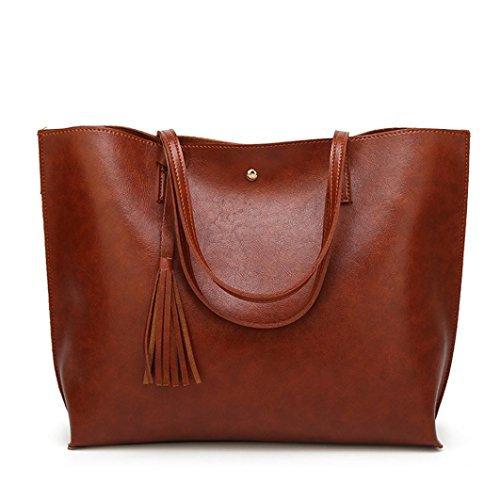 Bags Solid Brown Fashion Ladies Bag Handbag Color For Women KONFA PU Tassel Leather Shoulder Messenger Purse Tote Large wtBFTd8x