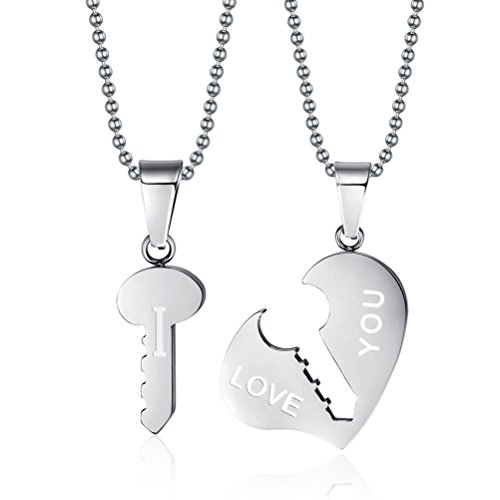 - Across Stainless Steel I Love You Key to Heart Couple Necklace Pendant Lovers Valentine Silver