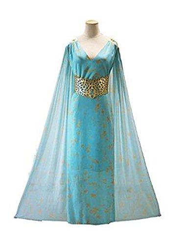 Daenerys Targaryen Costume Blue Dress (JerryCostume Women's Chiffon dress Halloween Cosplay Costume Blue Long Train Dress)