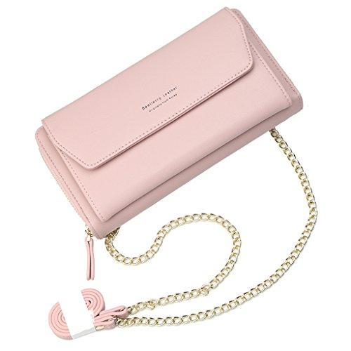 JAGENIE Bolso de Hombro de la Cadena de Las Señoras de Las Mujeres Titular de la Tarjeta Monedero Messenger Crossbody Pink Rosado