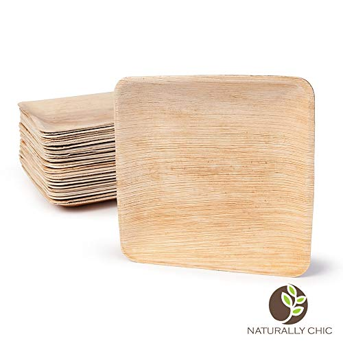 "Naturally Chic 8"" Square Disposable Palm Leaf Plates - 25 Pack - Small Dinnerware Set - Eco-Friendly, Biodegradable & Compostable - Ideal for Weddings, Parties, Home Use, Events"