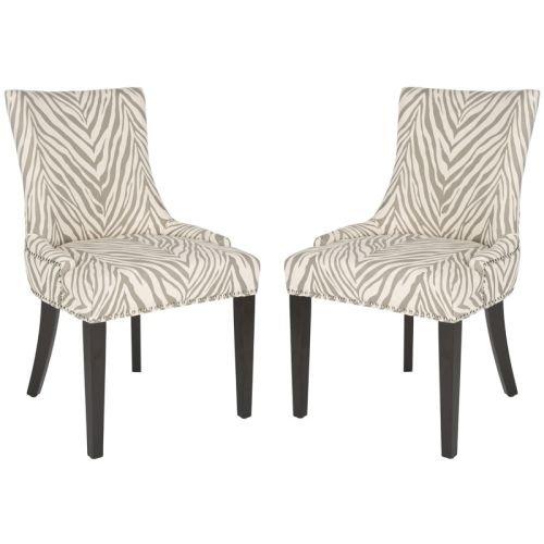 Safavieh MCR4709-SET2 Lester Dining Chair (Set of 2), Grey Zebra
