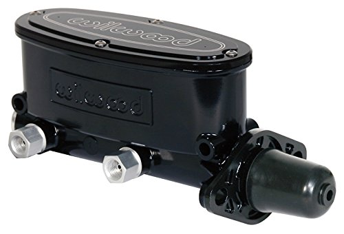 NEW WILWOOD BLACK ALUMINUM TANDEM CHAMBER MASTER CYLINDER, DUAL OUTLET, 1 1/8
