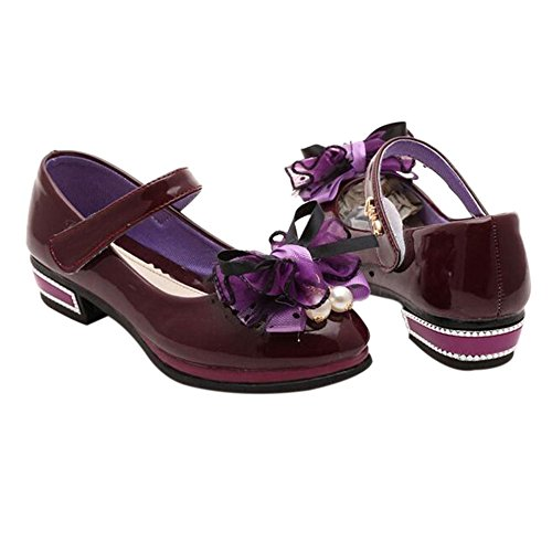 Haodasi Kinder Kids Mädchen Candy Color Bowknot Shallow Mouth Wohnung Prinzessin Single Schuhe Purple