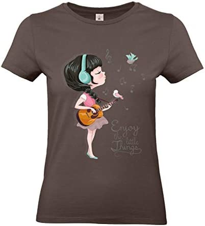 Smilo & Bron damski T-shirt z motywem Enjoy The Little Things z nadrukiem: Odzież