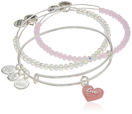 Alex and Ani Sweet Pink and Silver Bangle Bracelet (Alex And Ani Red Beaded Bracelet)