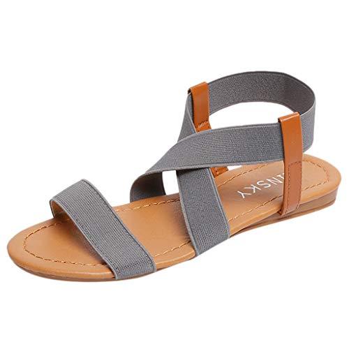 Aniywn Women's Elastic Flat Sandals Open Toe Ankle Strap Beach Shoes Summer Cross Shoes for Women ()