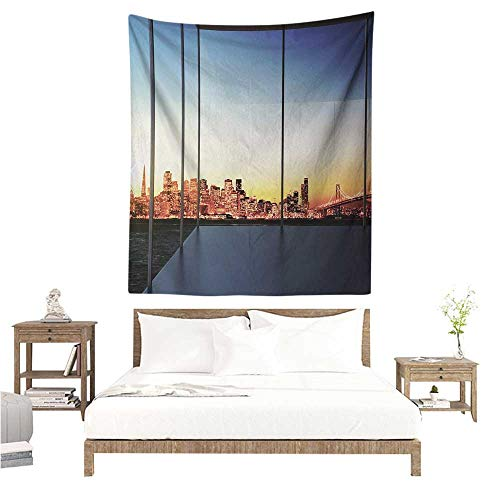 Willsd Modern Tapestry Sunset in New York City USA Cityscape with Bridge Skyscrapers Image Print Home Decorations for Bedroom Dorm Decor 60W x 91L INCH Dark Blue and Orange