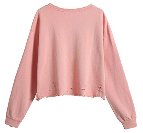 Sweatshirt Octopus Ocean Midriff Hole So'each Pullover Crop Women's Rojo Tops fBxwqSaH