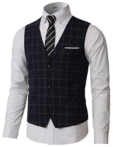 - H2H Men's Vest Slim Fit V-Neck 4-Button Formal Sleeveless Business Suit Separate Waistcoat Navy US M/Asia L (CMOV047)