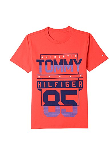 Tommy Hilfiger Little Boys' Short Sleeve Graphic T-Shirt, Vibrant Poppy Red 7 (Poppies Vibrant Red)