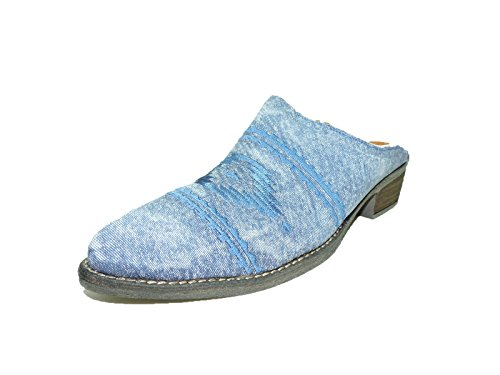 Diego di Lucca Womens Walter blue slip on slide in mule Western Cowboy size 9 M