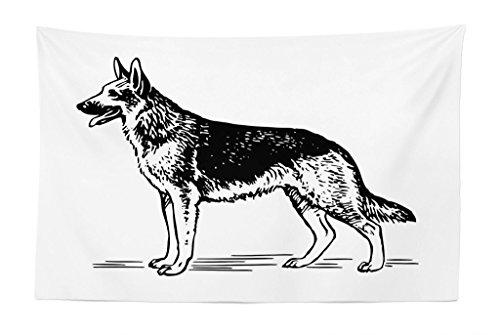 Dog Line Art - Lunarable German Shepherd Tapestry, Monochrome Illustration of Sketch Style Alsatian Dog Line Art Design, Fabric Wall Hanging Decor for Bedroom Living Room Dorm, 45 W X 30 L inches, Black and White