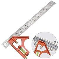Gradenboog roestvrij staal combinatiehoek 300 mm, parallelle liniaal voor elke timmerhoek metingen, liniaal roestvrij…