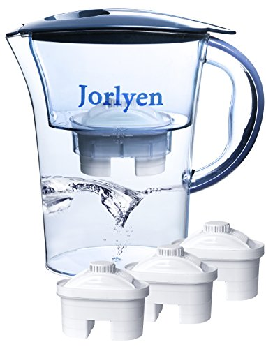 Jorlyen Water Filter Pitcher, Water Purifier Pitcher Includes 3 Filters, Water Filtration System for Elimination of Fluoride, Lead, Chlorine, Chromium, BPA, 10 Cup/2.5L(Blue)