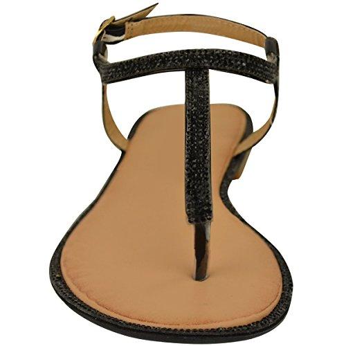 Sandalias De Moda Sediento De Las Mujeres Del Dedo Del Pie Del Dedo Del Pie Sandalias De Diamante Correa Para El Tobillo T-bar Zapatos Tamaño Negro Patente