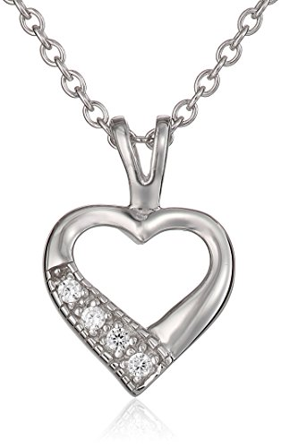 """Children's Sterling Silver Open Heart with Cubic Zirconia Pendant Necklace, 15"""""""