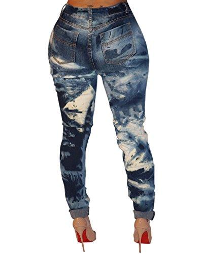 Mujer Pantalones Super Slim Fit Denim Vaqueros Azul Elasticos Rasgados S7SwqrxA