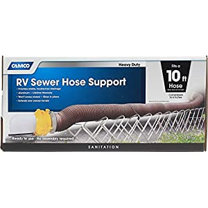 Camco Aluminum Sewer Hose Support - Supports Sewer Hoses Up to 10'  Includes Strap Kit to Secure Your Hose in Place  Durable Construction  Lightweight Design - (40351)