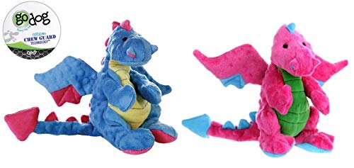 GoDog Dragon with Chew Guard Technology Dog Toy LARGE Set of 2! Blue & ()