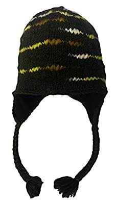 Nepal Hand Knit Lotus Flower Sherpa Cold Weather Hat with Soft Fleece Lining